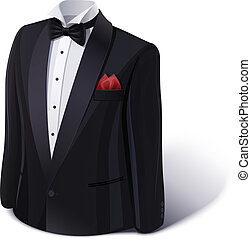 Tuxedo and bow. Stylish suit. Eps10 vector illustration....