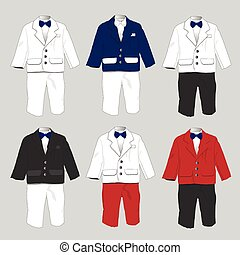 Tuxedo Baby boy Formal wear Wedding Party with bow tie Vector illustration.