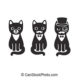 Tuxedo cats set - Cute cartoon drawing of black and white...