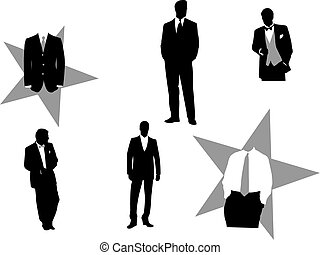 Vector illustration of fictitious business men in tuxedos, good for any design.