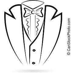 Tuxedo icon sketch silhouette vector design