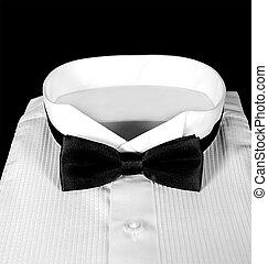 tuxedo shirt with black bow tie