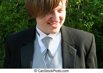 Tuxedo Teen Shy Smile