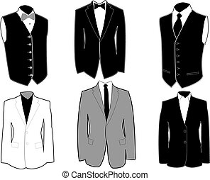 Set of tuxedos in black and white, easily editable, separated on layers. Eps 8.