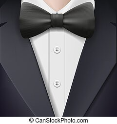 tuxedo with a bow tie.