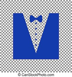 Tuxedo with bow silhouette. Blue icon on transparent background.