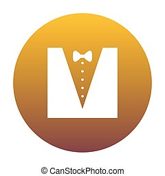 Tuxedo with bow silhouette. White icon in circle with golden gra