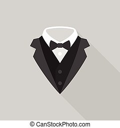 tuxedo with bow tie icon, flat design with long shadow