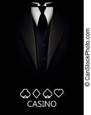 Tuxedo with suit of cards background. Casino concept. Elite...