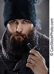 tuyau, élégant, barbe, homme, portrait