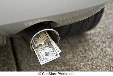 tuyau, argent, voiture, exhauste