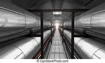 tuyau, câble, souterrain, tunnel.
