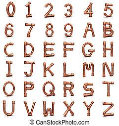 tuyau, cuivre, lettres, nombres, 3d