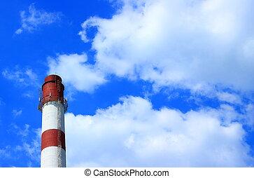 tuyau, industriel, ciel, contre, nuageux
