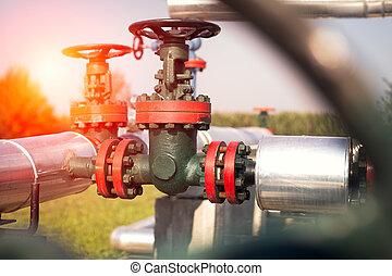tuyau, ligne, huile, essence, valves