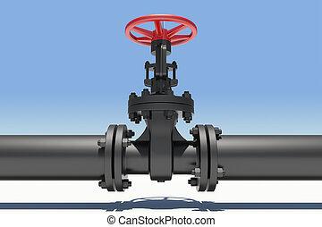 tuyau, ombre, industriel, noir, valves