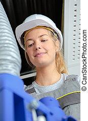 tuyau, ouvrier manuel, ventilation, femme, vue