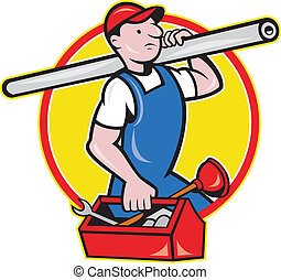 tuyau, plombier, boîte outils, dessin animé