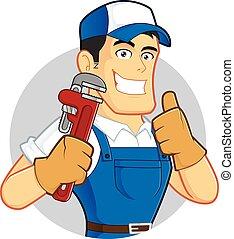 tuyau, plombier, clé, tenue
