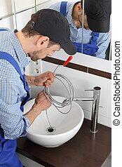 tuyau, plombier, drain, spirale, nettoyage