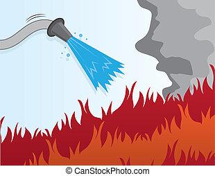tuyau pompe incendie, mettre, dehors
