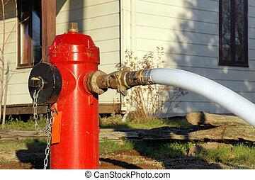 tuyau pompe incendie, prise eau, rouges