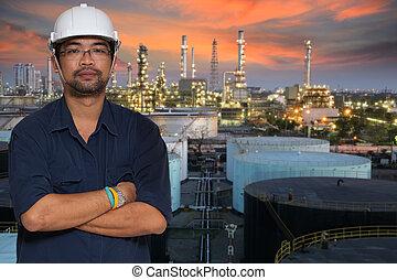 tuyau, raffinerie, plante, huile, ligne