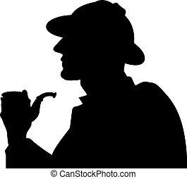 tuyau, silhouette, fumeur
