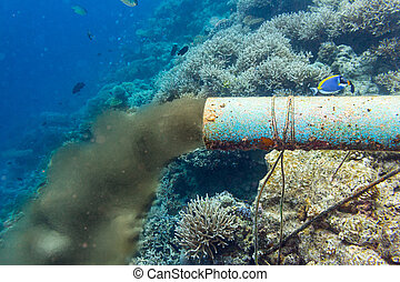 tuyau, sous-marin, égout