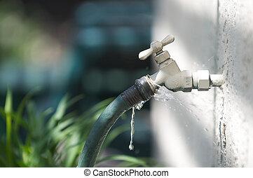 tuyau, spigot, fuite, eau, vert, ressorts