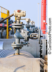 tuyauterie, et, valves, dans, pétrochimique