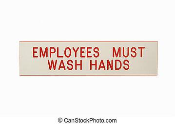 tvätta, anställda, hands.