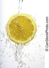 tvätta, citron, halvt