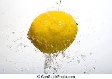 tvätta, vit, citron