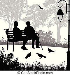 två, äldre kvinna, silhouettes, i parken
