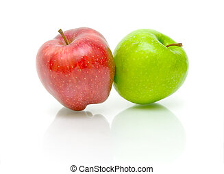 två, äpplen, på, a, vit fond