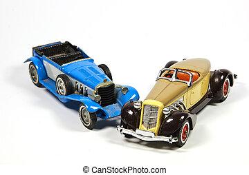 två, årgång, leksak modellera, bilar, vita
