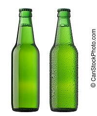 två, öl flaskor