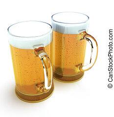 två, öl, muggar
