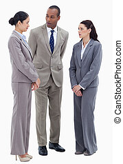två, affärsfolk, hålla ögonen på, deras, co-worker