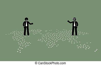 två, affärsman, av, olik, länder, ge sig, tumme uppe, till, varandra, på topp om, a, värld, map.