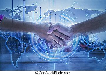 två, affärsman, handshaking, för, logistisk, och, transport, begrepp, framme, industriell, behållare, frakt, last skeppa, för, begrepp, av, fasta, eller, ögonblick, skeppning