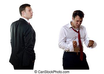 två, affärsverksamhet herrar, med, olik, kännanden