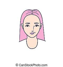 två, ansikte, vektor, illustration, ung, kvinna, views.
