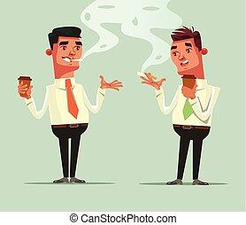 två, arbetare, vän, supande kaffe, och, röka, cigarette., kaffe, bromsa, concept., vektor, lägenhet, tecknad film, illustration