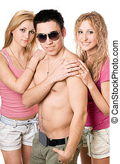 två, attraktiv, blondin, kvinna, med, ung man