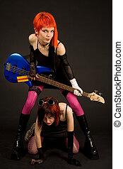 två, attraktiv, flickor, med, gitarr