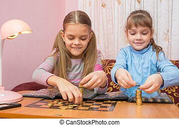 två barn, bygga, står hög, av, mynter