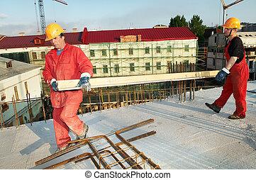 två, byggare, hos, konstruktion sajt