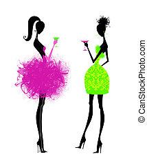 två, chic, unga kvinnor, in, fest klär sig
